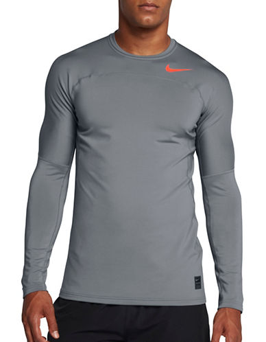 Nike Pro HyperWarm Long-Sleeve Tee-GREY-Medium