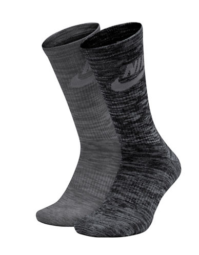 Nike Two-Pack Mid-Calf Socks-GREY-Large