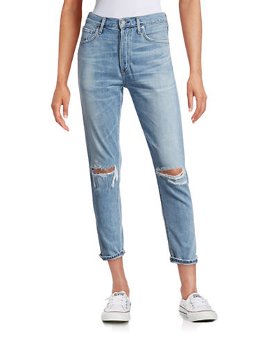 Citizens Of Humanity Liya High-Rise Classic Destructed Jeans-BLUE-27