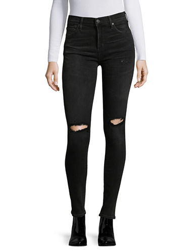 Citizens Of Humanity Distressed High-Rise Skinny Jeans-DARKNESS-31