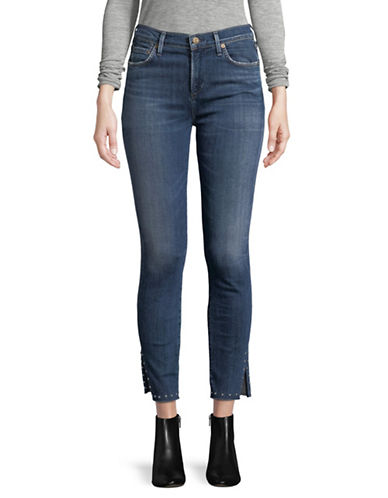 Citizens Of Humanity Rocket Studded Ankle Jeans-BLUE-24