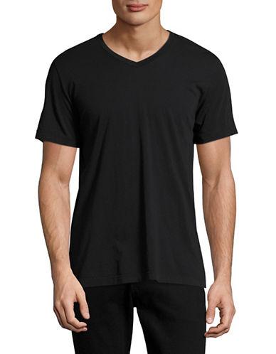 Velvet By Graham And Spencer Classic Whisper V-Neck T-Shirt-BLACK-Small