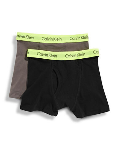Calvin Klein Boys 4 to 18 365 Boxer Brief Two Pack-BLACK GREY-X-Large