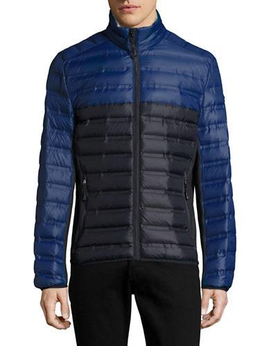 Michael Michael Kors Packable Mixed Media Down Jacket-BLUE-Large