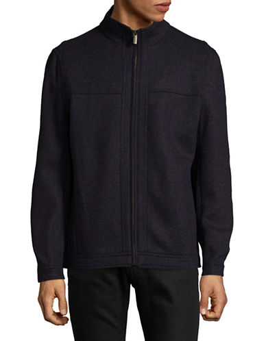 London Fog Double-Face Wool-Blend Zip Jacket-NAVY-X-Large