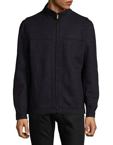 London Fog Double-Face Wool-Blend Zip Jacket-NAVY-Small