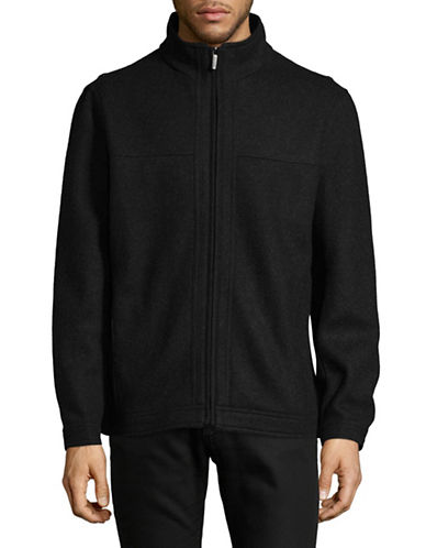 London Fog Double-Face Wool-Blend Zip Jacket-BLACK-X-Large