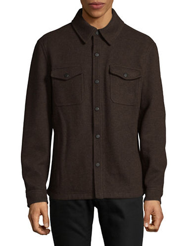 London Fog Double Faced Wool-Blend Shirt Jacket-BROWN-Small