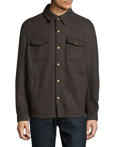 London Fog Double-Face Wool-Blend Snap Jacket-GREEN-Large