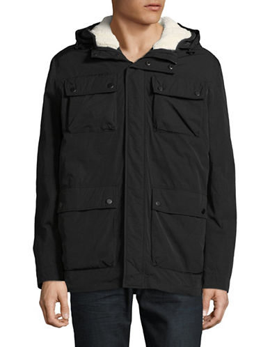 London Fog Wax Crinkle 3-In-1 Hooded Parka-BLACK-Medium