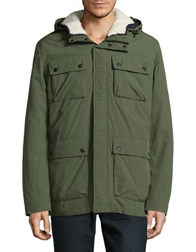 London Fog Wax Crinkle 3-In-1 Hooded Parka-GREEN-Medium