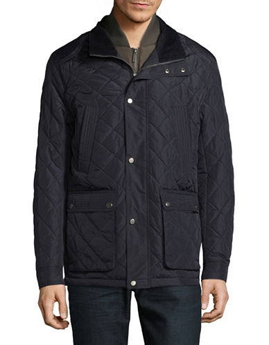 London Fog Dewspo Quilted Coat-NAVY-Small