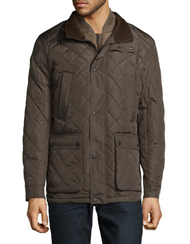 London Fog Dewspo Quilted Coat-GREEN-X-Large