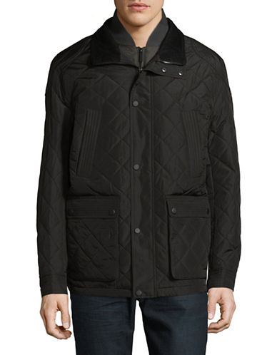 London Fog Dewspo Quilted Coat-BLACK-Large