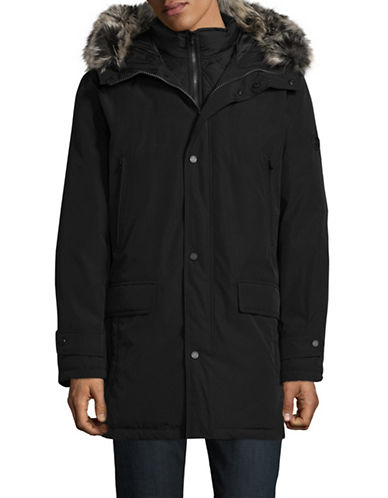 Michael Michael Kors Oxford Faux Fur-Trimmed Jacket-BLACK-X-Large 89473680_BLACK_X-Large