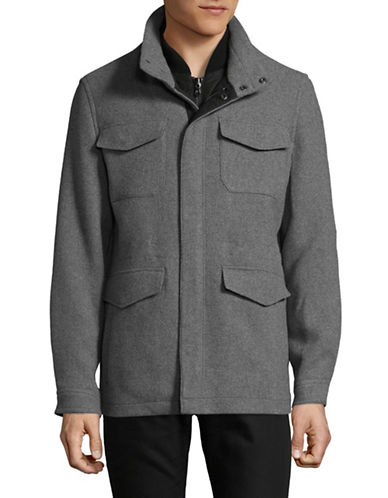 Michael Michael Kors Wool-Blend Fly Front Jacket-GREY-Small
