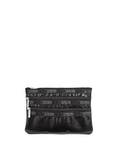 Lesportsac Three-Zip Cosmetic Pouch-BLACK CRINKLE-One Size