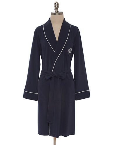 Lauren Ralph Lauren Short Shawl Collar Robe With Quilted Collar And Cuffs-BLUE-Large