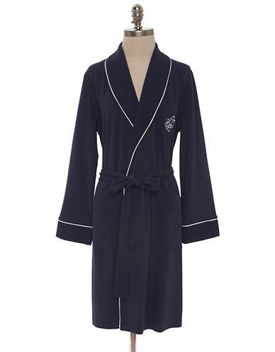 Lauren Ralph Lauren Short Shawl Collar Robe With Quilted Collar And Cuffs-BLUE-Medium