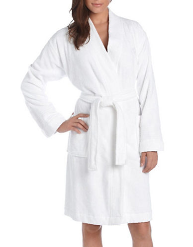 Lauren Ralph Lauren Towel Cotton Robe-WHITE-Small