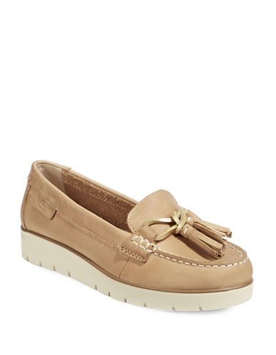 Sperry Leather Flatform Loafers-TAN-8.5