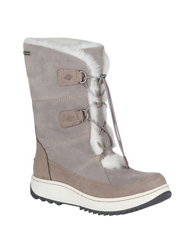 Sperry Faux-Fur Trimmed Winter Boots-GREY-7.5