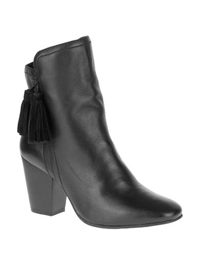 Hush Puppies Pebbled Leather Booties-BLACK-8.5
