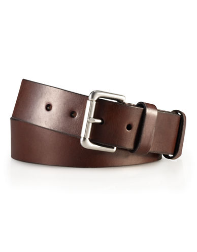 Polo Ralph Lauren Officers Leather Belt-BROWN-40