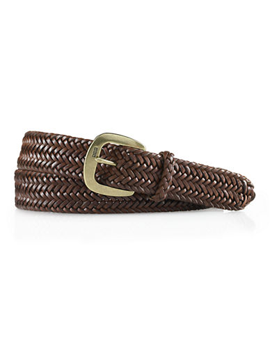 Polo Ralph Lauren Derby Braided Leather Belt-BROWN-32