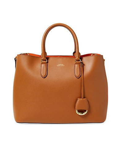 Lauren Ralph Lauren Marcy Leather Satchel-BROWN-One Size