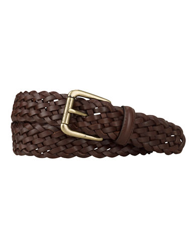 Lauren Ralph Lauren Braided Belt-BROWN-38