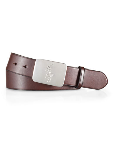 Polo Ralph Lauren Pony Plaque Leather Belt-BROWN-38