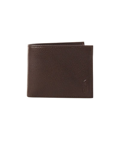 Polo Ralph Lauren Pebbled Leather Window Billfold-BROWN-One Size