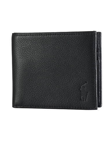 Polo Ralph Lauren Pebbled Leather Billfold Wallet-BLACK-One Size