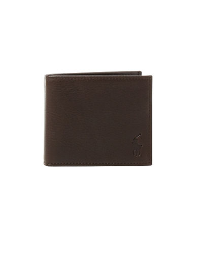 Polo Ralph Lauren Pebbled Leather Billfold-BROWN-One Size