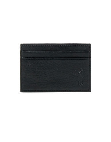 Polo Ralph Lauren Pebbled Leather Money Clip Card Case-BLACK-One Size