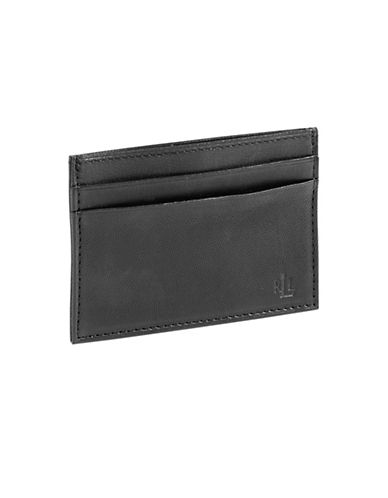 Lauren Ralph Lauren Burnished Card Case With Money Clip-BLACK-One Size