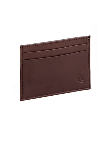 Lauren Ralph Lauren Leather Card Case With Money Clip-BROWN-One Size