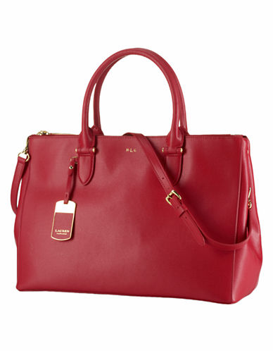 Lauren Ralph Lauren Newbury Double Zip Satchel-RED-One Size