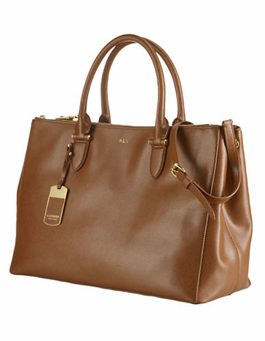 Lauren Ralph Lauren Double Zip Satchel-LAUREN TAN-One Size