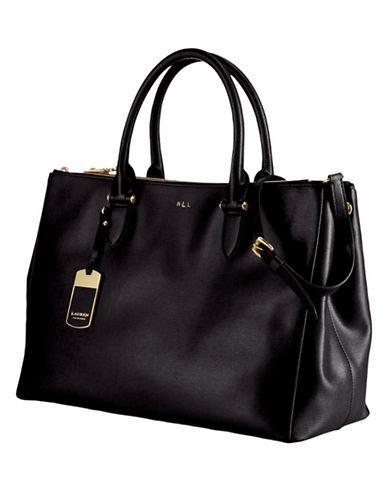 Lauren Ralph Lauren Newbury Double Zip Satchel-BLACK/GOLD-One Size