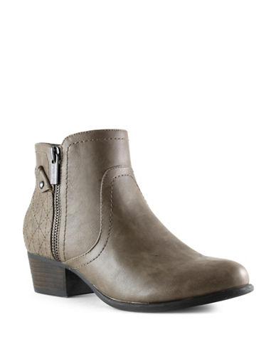 Unisa Patsie Vintage-Inspired Ankle Booties-BEIGE-6.5