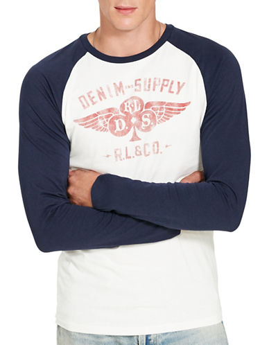 Denim & Supply Ralph Lauren Cotton Graphic Baseball Tee-WHITE-X-Large 88735731_WHITE_X-Large
