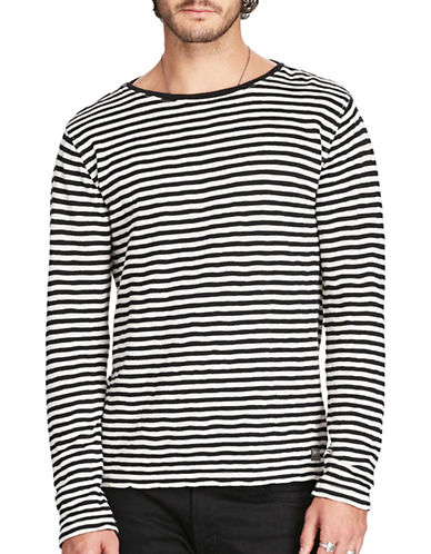 Denim & Supply Ralph Lauren Striped Cotton Jersey Tee-BLACK-Medium 88735800_BLACK_Medium