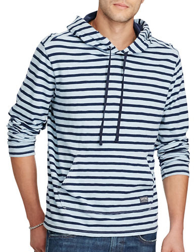 Denim & Supply Ralph Lauren Striped Jersey Hoodie-BLUE-X-Large 88735902_BLUE_X-Large