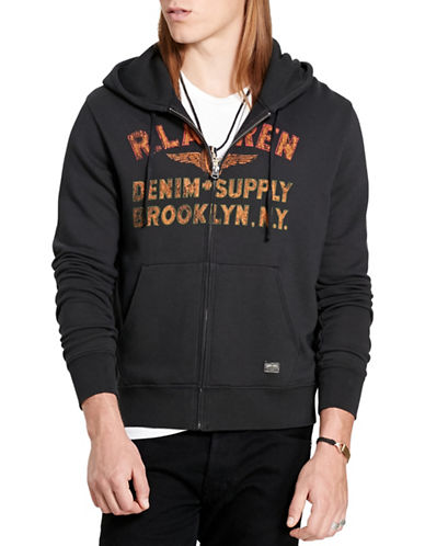 Denim & Supply Ralph Lauren Cotton Terry Graphic Hoodie-BLACK-Large 88508855_BLACK_Large