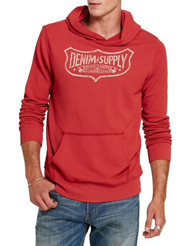 Denim & Supply Ralph Lauren French Terry Graphic Hoodie-RED-Medium 88508861_RED_Medium