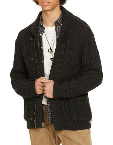 Denim & Supply Ralph Lauren Full-Zip Shawl-Collar Cardigan-BLACK-Large 88508609_BLACK_Large