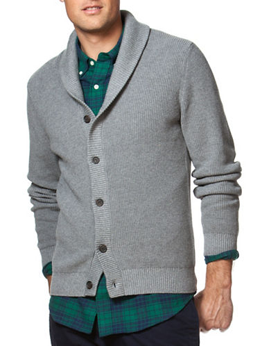 Chaps Combed Cotton Shawl Cardigan-GREY-Large 88643267_GREY_Large