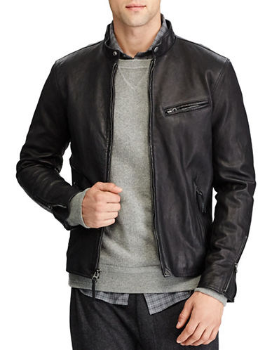 Polo Ralph Lauren Cafe Racer Leather Jacket-POLO BLACK-X-Large